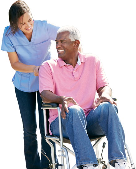 caregiver assisting senior man on wheelchair