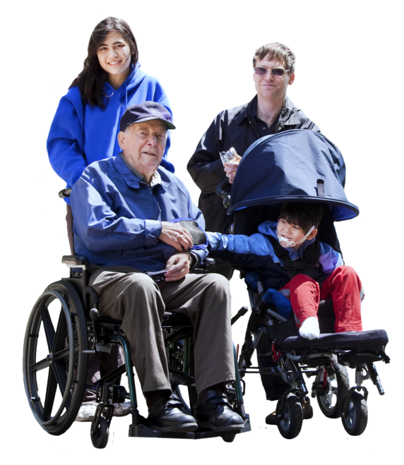 man and woman together with senior man on wheelchair and child with disability